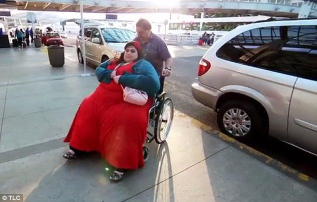 Uh-oh: On their way to Houston to meet with a gastric bypass surgeon, Amber's weight crushes her own wheelchair just outside the airport, rendering it broken (pictured)