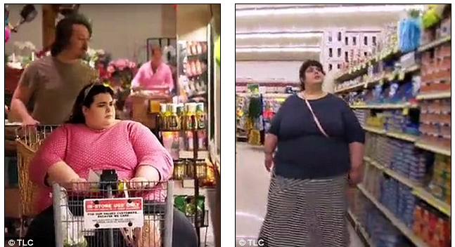 Happy ending: 'I surprised myself,' concludes Amber, pictured before (left) and (after) her weight loss