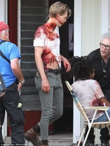 Selena Gomez, Spotted, in Bloody T-Shirt, Zombie Movie Set, With Rumored Boyfriend, Caleb Stevens