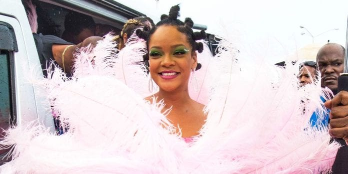 Rihanna Stuns in Giant Pink Feather Dress at Crop Over Festival in Barbados 2019