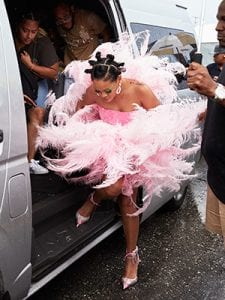 rihanna-cropover-feathered-dress