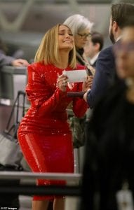 Jlo-Sexy-In-Extra-Bodycon-Shimmering-Red-Dress