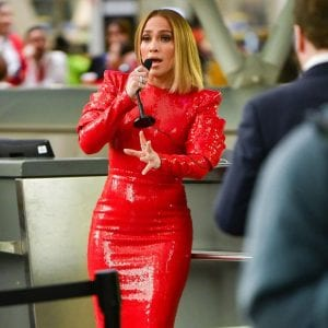 Jennifer-Lopez-Looks-Sexy-In-Extra-Bodycon-Shimmering-Red-Dress